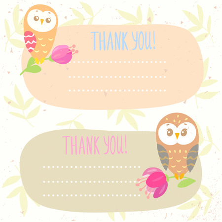 cute cartoon kids frame: beautiful set with frame and funny owls with place for text Illustration