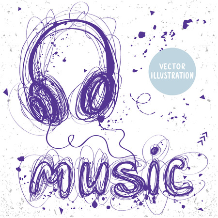 sloppy: beautiful sketch doodle headphones and word music of sloppy lines