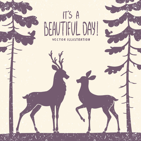 pine decoration: vector illustration silhouette of two beautiful deer in a pine forest