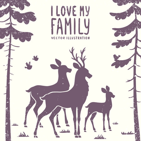 vector illustration silhouette of beautiful family deer in a pine forest Иллюстрация