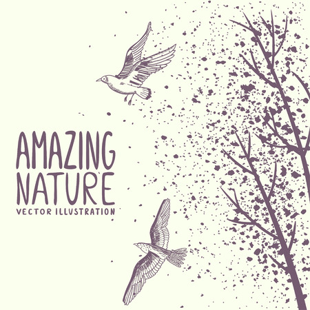 beautiful silhouette birds and trees in grunge style with sample text