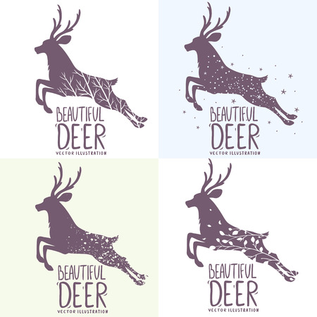 branch silhouette: Beautiful set of various grunge silhouette deer in jumping. Vector illustration