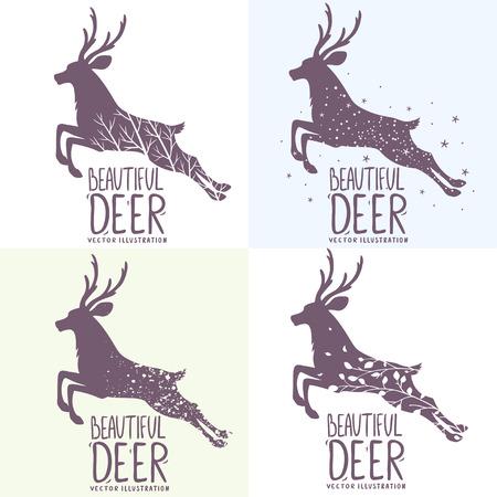 venado: Hermoso conjunto de varios ciervos grunge silueta de salto. Ilustraci�n vectorial