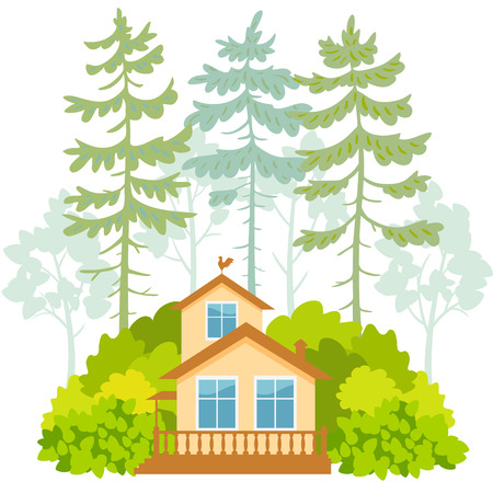 Stylish card with beautiful house in pine forest on a white background Illustration