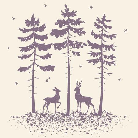 vector illustratie silhouet van twee mooie herten in een dennenbos in grunge stijl