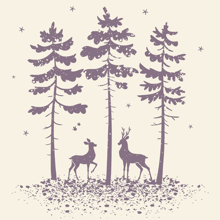 vector illustration silhouette of two beautiful deer in a pine forest in grunge style Иллюстрация