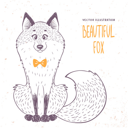 silhouettes cartoon cute and funny fox in sketch style. Vector illustration