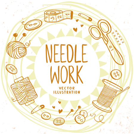beautiful design doodle silhouette set subject for needlework with place for text