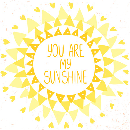 sunshine: stylish and beautiful card with sun from triangles and text-you are my sunshine