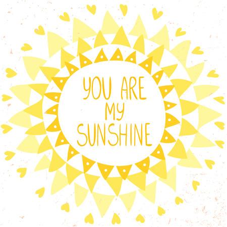 sol radiante: tarjeta elegante y hermosa con el sol de triángulos y texto usted es mi sol