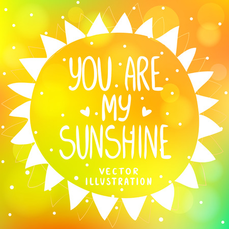 stylish and beautiful orange background with sun from triangles and text-you are my sunshine Illustration