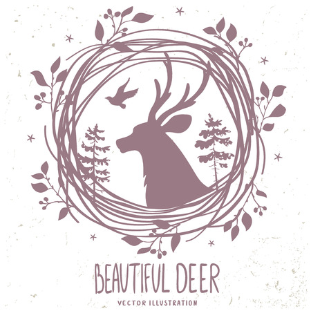 Beautiful silhouette deer in forestry wreath. Vector illustration Illustration