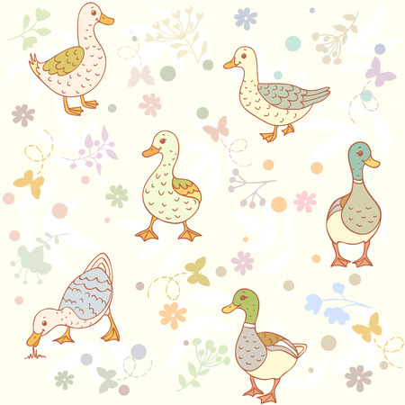 Beautiful seamless wallpaper with cute cartoon ducks Vector