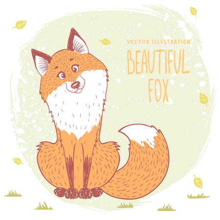 silhouettes cartoon cute and funny fox. Vector illustration