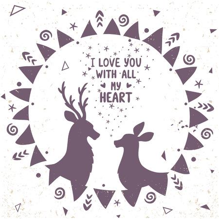 ethno: Beautiful silhouette deer in ethno frame. Vector illustration