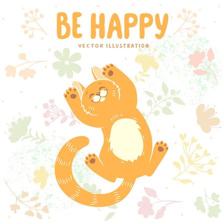 lies: Cute and beautiful cartoon happy kitten lies in flowers. Vector illustration