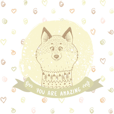 gently: silhouettes cartoon cute and funny fox in sketch style on the seamless background with circles. Vector illustration. Stylish card in gently color