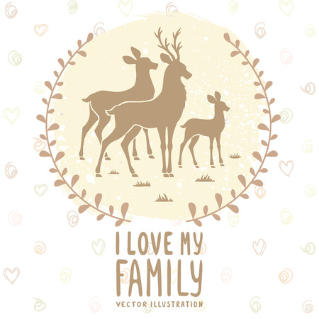 doe: Stylish card with silhouette of beautiful family deer. Vector illustration Illustration