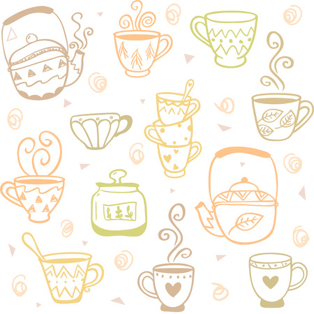 kettles: beautiful and simple doodles seamless pattern with mugs and kettles