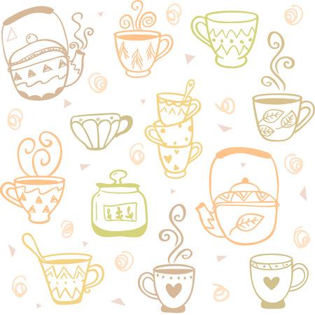 kettles: Garabatos hermosas y simples sin patr�n, con las tazas y teteras