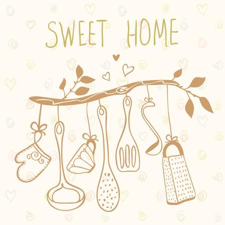 utencilios de cocina: tarjeta hermosa con la silueta del doodle de los cubiertos en una rama