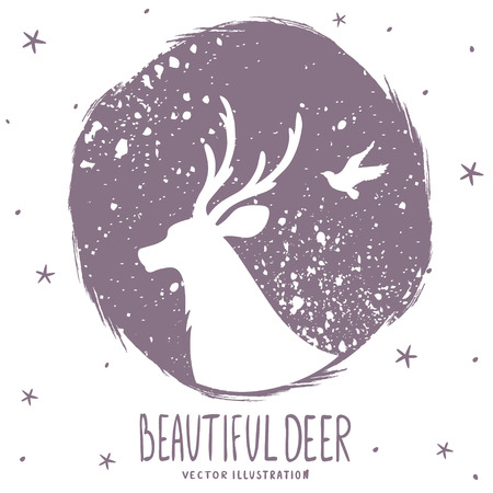 Beautiful silhouette deer in grunge circle. Vector illustration Иллюстрация