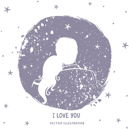 loving: illustration doodle silhouette of loving couple in grunge circle with place for text
