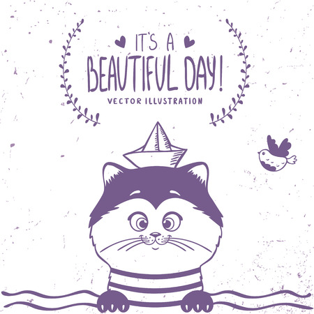 Beautiful silhouette hand drawn cute sailor kitty. Vector illustration