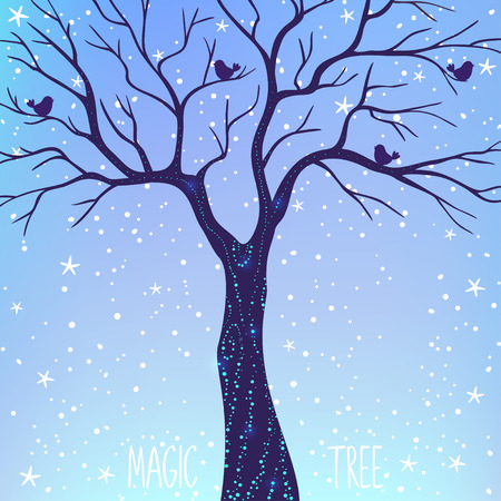 fireflies: Beautiful card with silhouette magic tree at night. Vector illustration