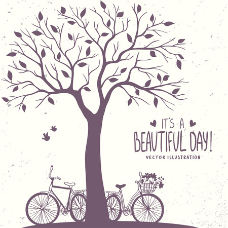 Stylish romantic card with silhouette tree and two bicycle. Vector illustration Çizim