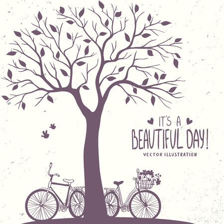 silueta ciclista: Tarjeta romántica con estilo con la silueta del árbol y dos bicicletas. Ilustración vectorial