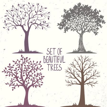 романтика: Красивая набор силуэт удивительных деревьев для дизайна. Векторная иллюстрация Иллюстрация
