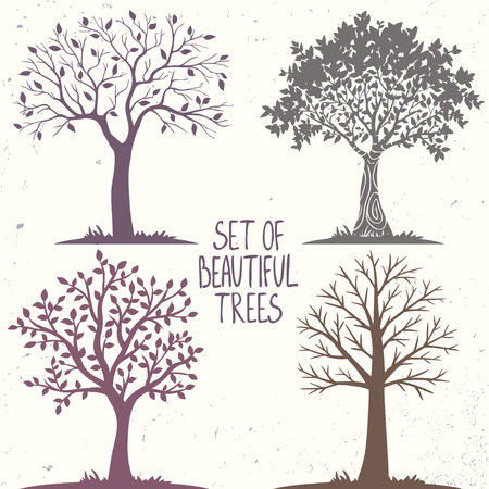 Beautiful set of silhouette amazing trees for design. Vector illustration Çizim