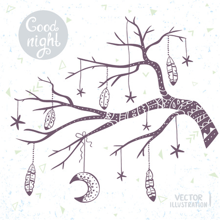 beautiful card with doodle silhouette tree branch with star, moon and feathers. Stylish illustration in tribal style