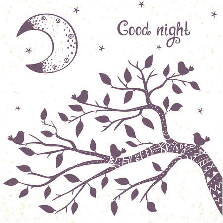 wallpaper  eps 10: beautiful card with doodle silhouette tree branch and moon. Stylish vector illustration