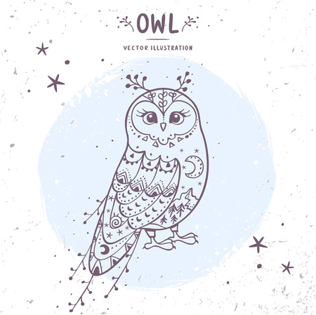 night owl: Charming fairy owl. Stylish card with doodle character owl. Vector illustration Illustration