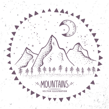 Beautiful contours mountains at night. Stylish vector illustration