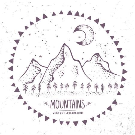 Beautiful contours mountains at night. Stylish vector illustration