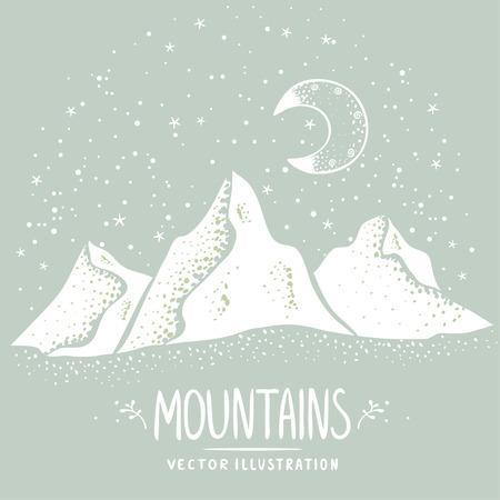 Beautiful white silhouette mountains at night. Stylish vector illustration Stock Illustratie