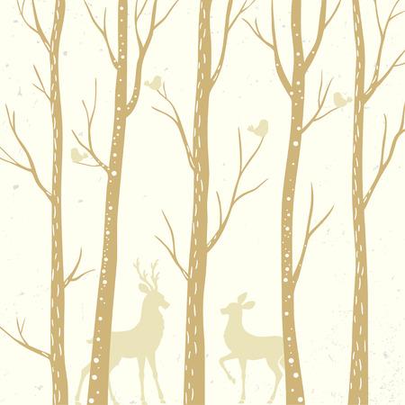 2 つの鹿の背の高い木々 を美しいシルエット。ベクトル図