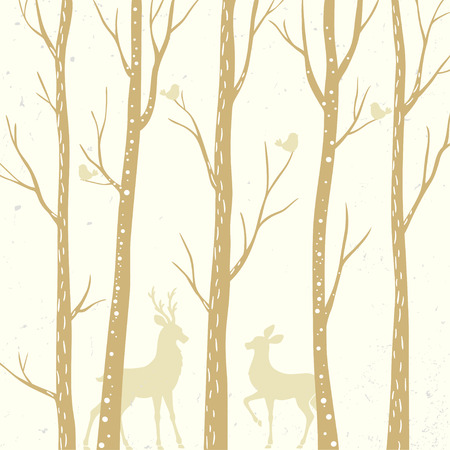 beautiful silhouette tall trees with two deer. vector illustration