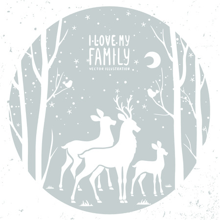 reindeers: Beautiful white silhouette deer and trees in circle frame. Vector illustration Illustration