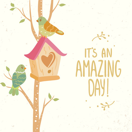 stylish card tree with birdhouse and beautiful cute two bird and place for text. simple and cute vector illustration Illusztráció