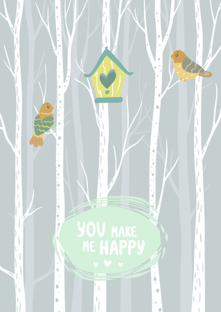 birch forest: stylish card tall white trees with birdhouse and beautiful cute two bird and place for text. Simple and cute vector illustration