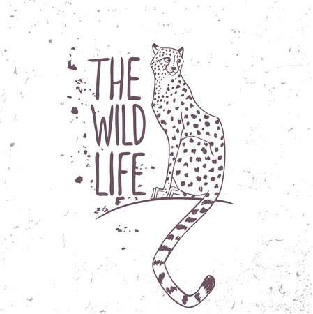 """wild life"": Silhouettes line amazing cheetah in sketch style with sample text - the wild life. Vector illustration"