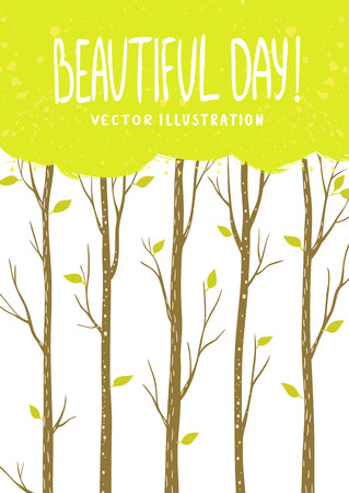 tall: Beautiful design stylish card with tall trees and place for text. Vector illustration