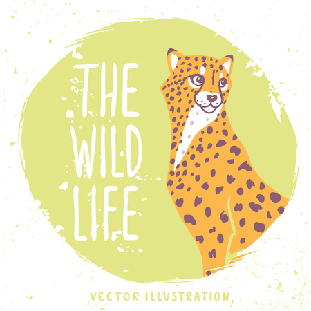 face illustration: Silhouettes amazing profile wild cat cheetah in grunge circle with sample text. Vector illustration Illustration