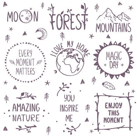 doodle frame: Beautiful concept set beautiful nature. Stylish vector illustration Illustration