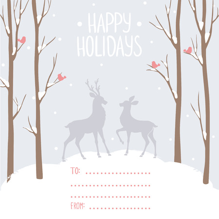 wallpaper  eps 10: Beautiful and stylish card with tall trees and deer and with place for wishes. Vector illustration. Winter design card