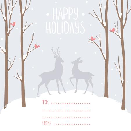 venado: Tarjeta hermosa y elegante con altos árboles y los ciervos y con lugar para los deseos. Ilustración del vector. Tarjeta Diseño del invierno